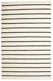 Dhurrie Stripe - Blanc/Noir Tapis 200X300 Moderne Tissé À La Main Beige/Gris Foncé (Laine, Inde)