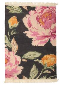 Kilim Karabagh Sofia - Noir Tapis 100X160 Moderne Tissé À La Main Gris Foncé/Rose Clair (Laine, Inde)