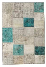Patchwork Tapis 160X232 Moderne Fait Main Gris Clair/Bleu Turquoise (Laine, Turquie)
