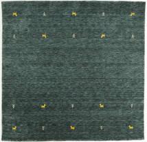 Gabbeh Loom Two Lines - Gris Foncé/Vert Tapis 200X200 Moderne Carré Vert Foncé/Turquoise Foncé (Laine, Inde)