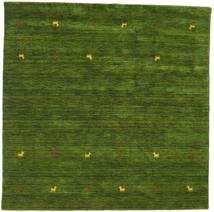 Gabbeh Loom Two Lines - Vert Tapis 200X200 Moderne Carré Vert Foncé (Laine, Inde)