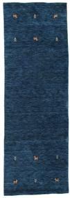 Gabbeh Loom Two Lines - Bleu Foncé Tapis 80X250 Moderne Tapis Couloir Bleu Foncé (Laine, Inde)