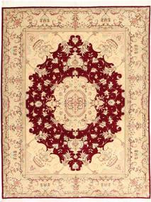 Tabriz 50 Raj Avec De La Soie Tapis 150X197 D'orient Fait Main Beige/Rouge Foncé (Laine/Soie, Perse/Iran)