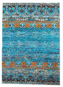 Quito - Turquoise Tapis 140X200 Moderne Fait Main Bleu Turquoise/Bleu (Soie, Inde)