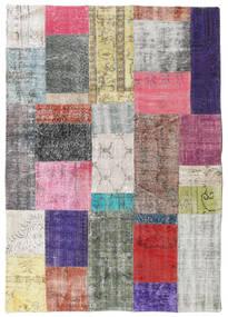 Patchwork Tapis 141X200 Moderne Fait Main Gris Clair/Violet Foncé (Laine, Turquie)