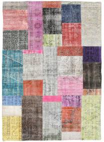 Patchwork Tapis 141X200 Moderne Fait Main Gris Clair/Beige Foncé (Laine, Turquie)
