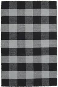Check Kilim Tapis 120X180 Moderne Tissé À La Main Noir/Gris Clair (Laine, Inde)