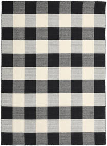 Check Kilim - Noir/Blanc Tapis 240X340 Moderne Tissé À La Main Noir/Gris Clair/Gris Foncé (Laine, Inde)
