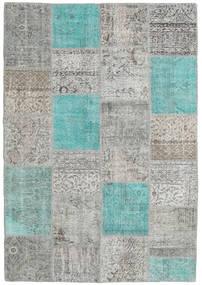 Patchwork Tapis 160X230 Moderne Fait Main Gris Clair/Bleu Turquoise (Laine, Turquie)