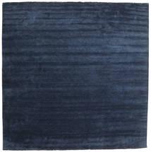 Handloom Fringes - Bleu Foncé Tapis 400X400 Moderne Carré Bleu Foncé/Bleu Grand (Laine, Inde)