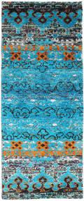 Quito - Turquoise Tapis 80X200 Moderne Fait Main Tapis Couloir Bleu Turquoise/Gris Clair (Soie, Inde)