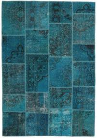Patchwork Tapis 159X230 Moderne Fait Main Bleu Foncé/Turquoise Foncé (Laine, Turquie)
