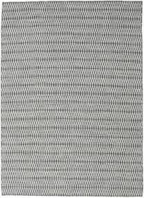 Kilim Long Stitch - Noir/Gris Tapis 210X290 Moderne Tissé À La Main Gris Clair/Bleu Turquoise (Laine, Inde)