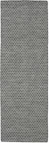 Kilim Honey Comb - Noir/Gris Tapis 80X240 Moderne Tissé À La Main Tapis Couloir Gris Clair/Gris Foncé (Laine, Inde)