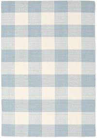 Check Kilim Tapis 140X200 Moderne Tissé À La Main Blanc/Crème/Beige/Bleu Clair (Laine, Inde)