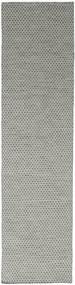 Kilim Honey Comb - Gris Tapis 80X340 Moderne Tissé À La Main Tapis Couloir Gris Clair/Gris Foncé (Laine, Inde)