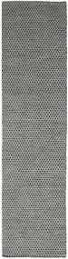 Kilim Honey Comb - Noir/Gris Tapis 80X340 Moderne Tissé À La Main Tapis Couloir Gris Foncé/Gris Clair (Laine, Inde)