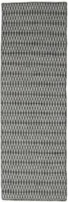 Kilim Long Stitch - Noir/Gris Tapis 80X240 Moderne Tissé À La Main Tapis Couloir Gris Foncé/Gris Clair (Laine, Inde)