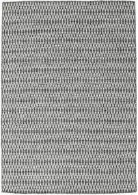 Kilim Long Stitch - Noir/Gris Tapis 160X230 Moderne Tissé À La Main Gris Clair/Gris Foncé (Laine, Inde)