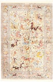 Ghom Soie Tapis 140X211 D'orient Fait Main Beige/Rose Clair (Soie, Perse/Iran)