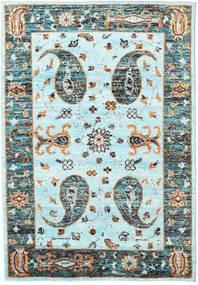 Vega Sari Soie - L.blue Tapis 160X230 Moderne Fait Main Bleu Turquoise/Gris Foncé (Soie, Inde)