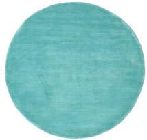 Handloom - Aqua Tapis Ø 150 Moderne Rond Turquoise Foncé/Bleu Turquoise (Laine, Inde)