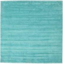 Handloom Fringes - Aqua Tapis 250X250 Moderne Carré Turquoise Foncé/Bleu Turquoise Grand (Laine, Inde)