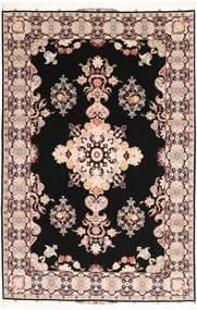 Tabriz#60 Raj Chaîne De Soie Tapis 202X305 D'orient Fait Main Noir/Marron Foncé (Laine/Soie, Perse/Iran)