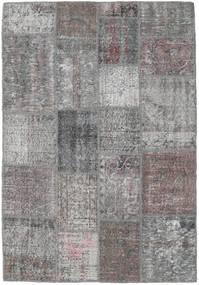 Patchwork Tapis 140X202 Moderne Fait Main Gris Clair/Marron Foncé (Laine, Turquie)