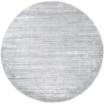 Bambou Soie Loom - Gris Tapis Ø 200 Moderne Rond Gris Clair/Blanc/Crème ( Inde)