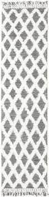 Inez - Marron Foncé/Blanc Tapis 80X300 Moderne Tissé À La Main Tapis Couloir Gris Clair/Blanc/Crème (Laine, Inde)