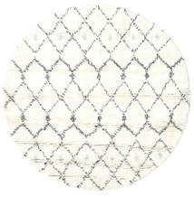 Sauda - Natural Gris Tapis Ø 150 Moderne Fait Main Rond Beige/Blanc/Crème (Laine, Inde)