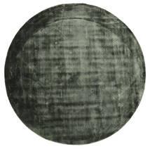 Brooklyn - Moss Green Tapis Ø 200 Moderne Rond Vert Foncé/Noir ( Inde)