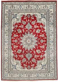 Naïn Tapis 150X207 D'orient Fait Main Gris Clair/Rouge Foncé (Laine, Perse/Iran)
