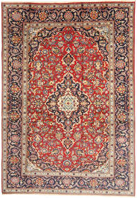 Kashan Tapis 198X292 D'orient Fait Main Marron Clair/Beige (Laine, Perse/Iran)