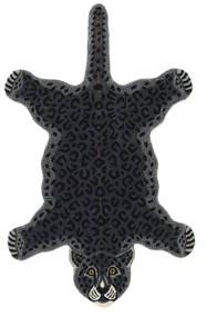 Leopard - Noir Tapis 100X160 Moderne Gris Foncé (Laine, Inde)