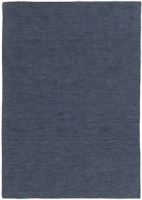 Kilim Loom - Denim Bleu Tapis 140X200 Moderne Tissé À La Main Bleu (Laine, Inde)