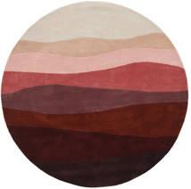 Feeling Handtufted - Wine Tapis Ø 200 Moderne Rond Rouge Foncé/Gris Clair (Laine, Inde)