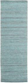 Alva - Turquoise/Blanc Tapis 80X250 Moderne Tissé À La Main Tapis Couloir Bleu Clair/Turquoise Foncé (Laine, Inde)