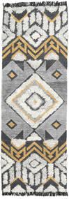 Deco Tapis 80X250 Moderne Tissé À La Main Tapis Couloir Gris Clair/Gris Foncé (Laine, Inde)