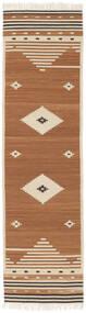 Tribal - Jaune Moutarde Tapis 80X300 Moderne Tissé À La Main Tapis Couloir Marron/Marron Clair/Beige (Laine, Inde)