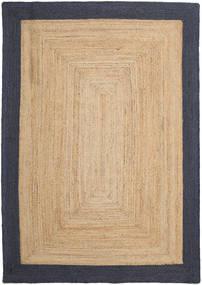 Tapis D'extérieur Frida Frame - Natural/Navy Tapis 160X230 Moderne Tissé À La Main Beige Foncé/Noir/Beige (Tapis De Jute Inde)
