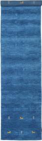 Gabbeh Loom Two Lines - Bleu Tapis 80X350 Moderne Tapis Couloir Bleu/Bleu Foncé (Laine, Inde)