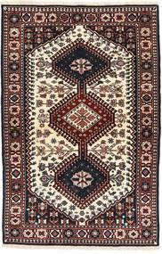 Yalameh Tapis 100X154 D'orient Fait Main Noir/Beige (Laine, Perse/Iran)