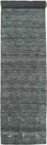 Gabbeh Loom Two Lines - Gris Foncé/Vert Tapis 80X450 Moderne Tapis Couloir Vert Foncé/Gris Clair (Laine, Inde)