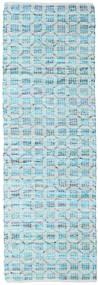 Elna - Bright_Blue Tapis 80X250 Moderne Tissé À La Main Tapis Couloir Bleu Clair/Bleu Turquoise (Coton, Inde)