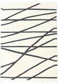 Cross Lines - Blanc Écru/Noir Tapis 160X230 Moderne Tissé À La Main Beige/Gris Foncé (Laine, Inde)