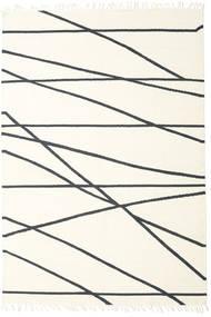 Cross Lines - Blanc Écru/Noir Tapis 200X300 Moderne Tissé À La Main Beige/Blanc/Crème (Laine, Inde)
