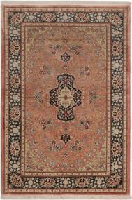 Ghom Soie Tapis 99X149 D'orient Fait Main Rouge Foncé/Marron Clair (Soie, Perse/Iran)