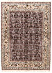 Moud Tapis 142X198 D'orient Fait Main Gris Clair/Rouge Foncé (Laine/Soie, Perse/Iran)